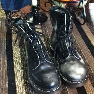 Dr Martens black and white distressed look boots